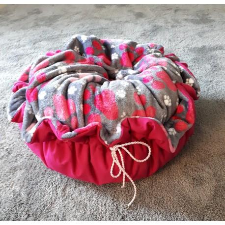 Rundes Bettchen Pink mit Pfoten